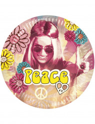 6 Platos de cartón Hippie Flower Power 25 cm