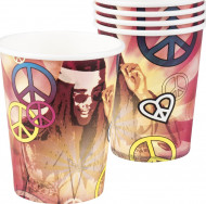 6 Vasos de cartón Hippie Flower Power 250 ml