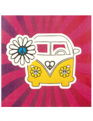 12 servilletas de papel Hippie Flower Power 33 cm