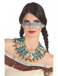Collar indio azul mujer