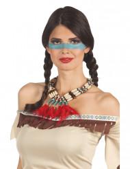 Collar indio con plumas rojas mujer