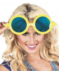 Gafas redondas gigantes amarillas adulto