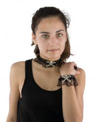 Collar y pulsera encaje calavera hueso Halloween