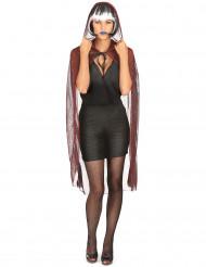 Capa araña con capucha negra roja metalizada Halloween