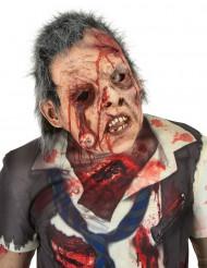 Máscara deluxe látex zombie ojo con pelo adulto Halloween