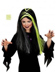 Peluca bruja negra y blanca fluorescente niña Halloween
