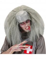 Peluca Halloween gris zombie loco hombre