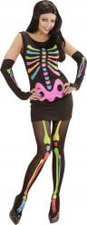 Disfraz esqueleto fosforito mujer Halloween