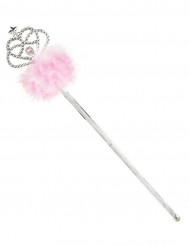 Varita de princesa con plumas rosas