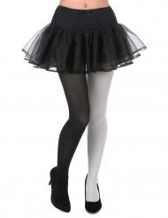 Pantys bicolor negro y blanco adulto
