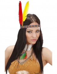 Diadema india con plumas adulto
