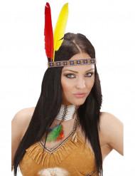 Diadema india con plumas adulto