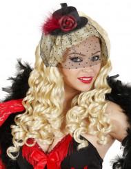 Mini sombrero negro con velo y flor mujer