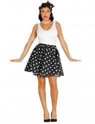 Falda con pañuelo negro puntos blancos años 50 mujer