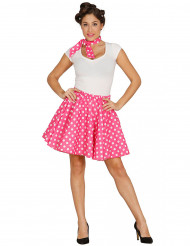 Falda y pañuelo rosa puntos blancos años 50 mujer