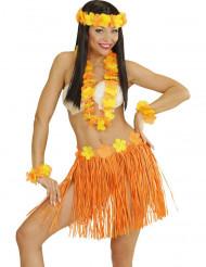 Kit hawaiano naranja y amarillo adulto