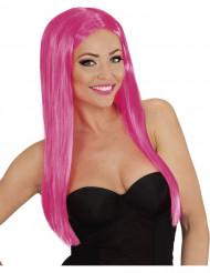 Peluca larga glamour rosa mujer