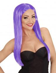 Peluca larga glamour violeta mujer