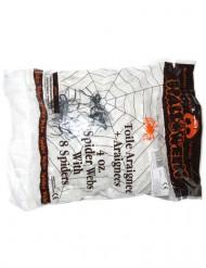 Decoración telaraña blanca con 4 arañas 113 g Halloween