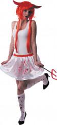 Falda blanca ensangrentada mujer Halloween