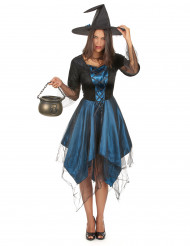 Disfraz bruja azul noche mujer Halloween