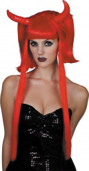 Peluca diablesa roja mechas largas mujer Halloween