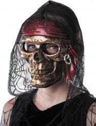 Máscara calavera pirata dorada adulto