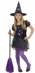 Disfraz bruja negra y violeta niña Halloween