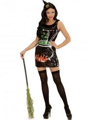 Disfraz bruja lentejuelas caldero mujer Halloween