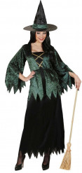 Disfraz bruja verde terciopelo y negro mujer Halloween