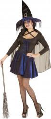 Disfraz bruja azul y negro mujer Halloween
