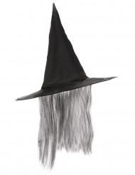 Sombrero Halloween bruja negro pelo gris adulto