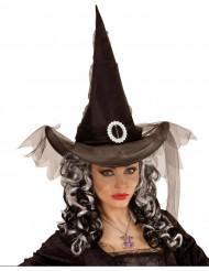 Sombrero bruja negro para mujer Halloween