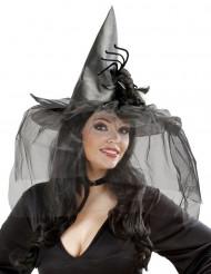 Sombrero Halloween bruja tul araña mujer