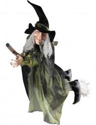 Decoración bruja voladora con escoba 100 cm Halloween