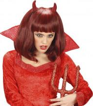 Peluca media melena demonio rojo mujer Halloween