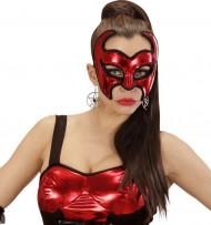 Antifaz demonio rojo con lentejuelas mujer Halloween