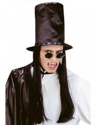 Sombrero de copa con pelo negro adulto Halloween