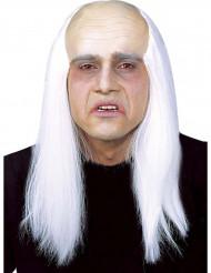 Peluca calva con pelo blanco adulto