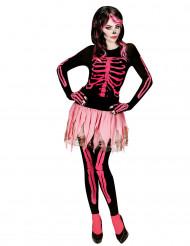 Disfraz esqueleto rosa mujer Halloween