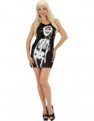 Disfraz vestido esqueleto con lentejuelas mujer Halloween