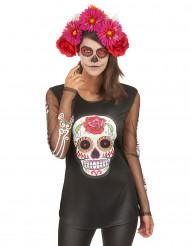 Camiseta esqueleto colores mujer Día de los Muertos