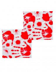 12 Servilletas papel Manos ensanglentadas 33x33 cm