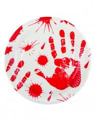 6 Platos manos ensangrentadas 23 cm Halloween