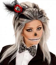Mini sombrero esqueleto con pajarita mujer