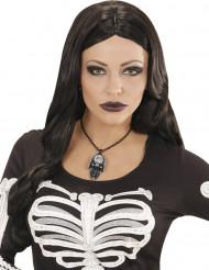 Collar cráneo y piedra cristal mujer Halloween