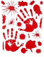 Decoración pegatinas manos sangrientas Halloween