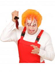 Máscara muñeco asesino con pelo adulto Halloween