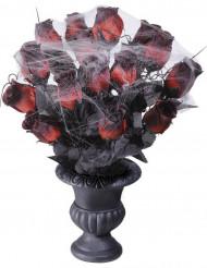 Ramo rosas rojas telaraña 35 cm Halloween