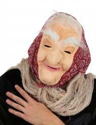 Máscara bruja vieja con pelo y pañuelo mujer Halloween